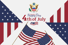 Celebrate Happy 4th of July - Independence Day. Congratulatory banner with the coat of arms and a combination of fonts. Flat vecto Stock Image
