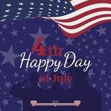 Celebrate Happy 4th of July - Independence Day. Congratulatory banner with combination of fonts. Flat illustration EPS 10.  stock illustration