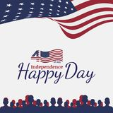 Celebrate Happy 4th of July - Independence Day. Congratulatory banner with combination of fonts. Flat illustration EPS 10.  royalty free illustration