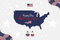 Celebrate Happy 4th of July - Independence Day. Congratulatory banner with combination of fonts. Flat  illustration EPS 10 Royalty Free Stock Photo