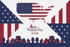 Celebrate Happy 4th of July - Independence Day. Congratulatory banner with combination of fonts. Flat  illustration EPS 10 Stock Photos