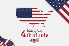 Celebrate Happy 4th of July - Independence Day. Congratulatory banner with combination of fonts. Flat  illustration EPS 10 Stock Image