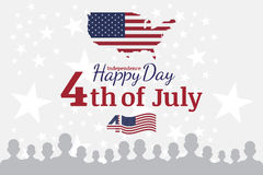 Celebrate Happy 4th of July - Independence Day. Congratulatory banner with combination of fonts. Flat  illustration EPS 10 Stock Photography