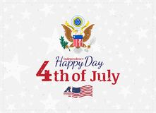 Celebrate Happy 4th of July - Independence Day. Vintage retro greeting card with coat of arms and old-style texture. National American holiday event. Flat Stock Photo