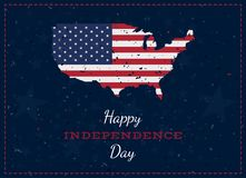 Celebrate Happy 4th of July - Independence Day. Vintage retro greeting card with USA flag and old-style texture. National American. Holiday event. Flat Vector royalty free illustration
