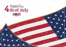 Celebrate Happy 4th of July - Independence Day. Vintage retro greeting card with USA flag and old-style texture. National American. Holiday event. Flat Vector stock illustration
