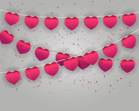 Celebrate heart banner with confetti Stock Images
