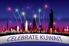 Celebrate Kuwait. Postcard Featuring Kuwait's Skyline During A Festive Fireworks Night Stock Photography