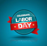 Celebrate labor day badge with red ribbon. Stock Photos