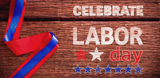 Composite image of celebrate labor day text and stars Royalty Free Stock Photo