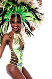 Celebrate with me this carnival. Side pose of cheerful carnival dancer woman Stock Images