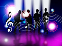 Celebrate music. An illustration showing a group of four people playing music against a lens light background. The group are shown in silhouette playing in vector illustration