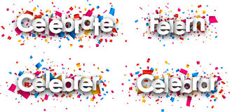 Celebrate paper banners. Celebrate paper banners with confetti, German, French, Spanish. Vector illustration Royalty Free Stock Photos