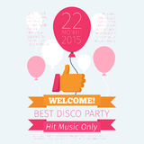 Celebrate or party poster with thumbs up and Royalty Free Stock Photography