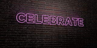 CELEBRATE -Realistic Neon Sign on Brick Wall background - 3D rendered royalty free stock image Royalty Free Stock Photography