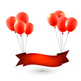 Celebrate red ribbon background with balloons Stock Image