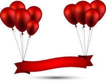 Celebrate red ribbon background with balloons Stock Photo