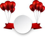 Celebrate red ribbon background with balloons Royalty Free Stock Images