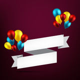 Celebrate ribbon background with balloons. Royalty Free Stock Photography