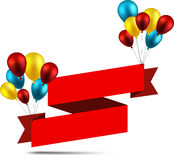 Celebrate ribbon background with balloons Royalty Free Stock Images