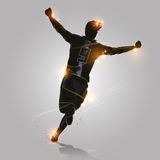 Celebrate run. Soccer player celebrates goal by running design Stock Images
