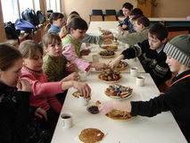 Celebrate Russian folk holiday Maslenitsa in a village school in Kaluga region. Royalty Free Stock Photos