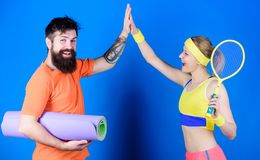 Celebrate success. Strong muscles and body. Happy woman and bearded man workout in gym. Athletic Success. Sport stock photo