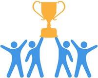 Celebrate Team effort winning trophy. People celebrate win of trophy won by group teamwork Royalty Free Stock Photo