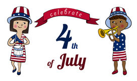 Celebrate 4th of July. Girl and boy dressed in colors of american flag with drum and trumpet. 4th of July greeting card or banner. Children on USA Independence Stock Images