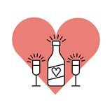 Celebrate with us design. Pink heart with bottle and glasses icons over white background. celebrate with us design. vector illustration Royalty Free Stock Image