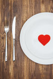 Celebrate valentine's day, Heart shape on a plate Royalty Free Stock Images