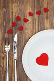 Celebrate valentine's day, Heart shape on a plate Royalty Free Stock Photos
