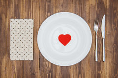 Celebrate valentine's day, Heart shape on a plate Stock Image