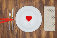 Celebrate valentine's day, Heart shape on a plate Stock Images
