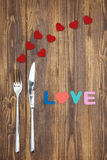 Celebrate valentine's day, word love on wooden table Royalty Free Stock Photos