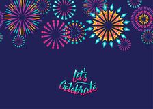 Celebrate vector background with fireworks border. For birthday anniversary party concept. Isolated on dark. Illustration in flat style Stock Image