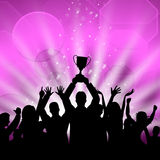 Celebrate Win Shows First Place And Cheerful. Trophy Win Meaning First Place And Contest Royalty Free Stock Photo