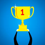 Celebrate winning trophy Royalty Free Stock Photography