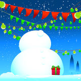 Celebrate winter season Snow man and blue background Stock Image