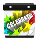 Celebrate Word on Wall Calendar Holiday. The word Celebrate in a star burst of fireworks on a wall calendar to remind you that it's the day or time for a holiday Royalty Free Stock Photo