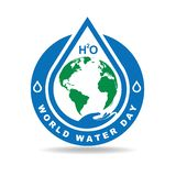 Earth and drop water badge. Celebrate world water day with drop water and earth illustration, blue badge unique and Blue water vector illustration