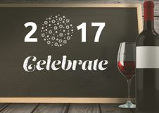 2017 celebrate written on blackboard with wine glass and bottle 3D Stock Photos