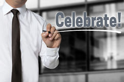 Celebrate is written by businessman background Royalty Free Stock Images