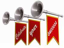 Celebrate your success. Words celebrate your success hanging below blow horns on white background Stock Image