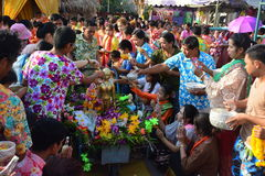 Celebrates the Songkran Festival in the Thai-Mon style. BANGKOK,THAILAND-APRIL 16,2017: celebrates the Songkran Festival in the Thai-Mon style, at Bangkradi Stock Image