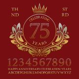 Celebrating anniversary sign kit. Golden numbers, alphabet, frame and some words for creating celebration emblems.  royalty free illustration