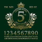 Celebrating anniversary sign kit. Golden numbers, alphabet, frame and some words for creating celebration emblems.  Stock Photos