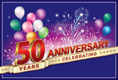 Celebrating the anniversary 50 years. Anniversary 50 years with balloons and fireworks Stock Photography