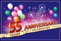 Celebrating the anniversary of 55 years. Anniversary 55 years with balloons and fireworks Royalty Free Stock Photos