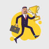 Celebrating arabic businessman holding winner cup trophy and running Royalty Free Stock Image